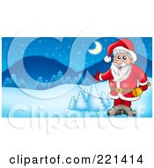 Royalty Free RF Clipart Illustration Of Santa Holding A Bell And Presenting In A Winter Landscape