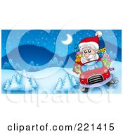 Royalty Free RF Clipart Illustration Of Santa Driving A Car In A Winter Landscape