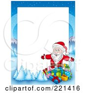 Royalty Free RF Clipart Illustration Of A Christmas Frame Border Of Santa Surrounded By Gifts With A Winter Landscape Around White Space