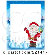 Royalty Free RF Clipart Illustration Of A Christmas Frame Border Of Santa And A Present With A Winter Landscape Around White Space