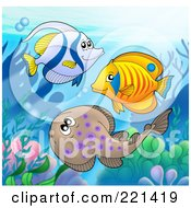 Royalty Free RF Clipart Illustration Of Two Marine Fish And A Ray Swimming By A Reef