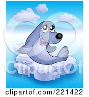 Royalty Free RF Clipart Illustration Of A Happy Cute Seal On Ice 1 by visekart