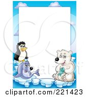Royalty Free RF Clipart Illustration Of A Border Of A Seal Penguin And Polar Bear Around White Space by visekart