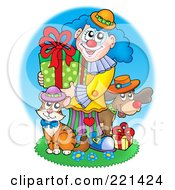 Royalty Free RF Clipart Illustration Of A Clown Cat And Dog With Birthday Gifts