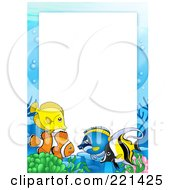 Royalty Free RF Clipart Illustration Of A Frame Of Marine Fish Around White Space