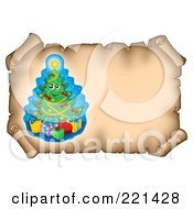 Royalty Free RF Clipart Illustration Of A Christmas Tree On An Aged Parchment Scroll Page