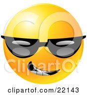 Clipart Illustration Of A Yellow Emoticon Face Grinning And Wearing Dark Sunglasses