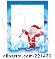 Royalty Free RF Clipart Illustration Of A Christmas Frame Border Of Santa Skiing With A Winter Landscape Around White Space by visekart