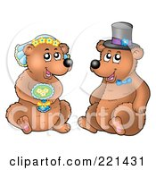 Royalty Free RF Clipart Illustration Of A Bear Bride And Groom