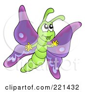 Royalty Free RF Clipart Illustration Of A Cute Waving Purple Butterfly