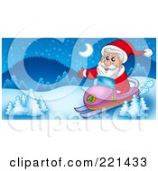 Royalty Free RF Clipart Illustration Of Santa On A Snowmobile In A Winter Landscape