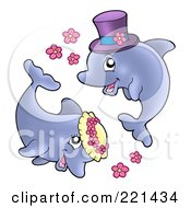Royalty Free RF Clipart Illustration Of A Cute Jumping Wedding Couple With Flowers