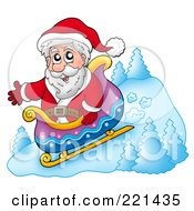 Royalty Free RF Clipart Illustration Of Santa Riding Downhill In A Sleigh
