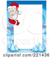 Royalty Free RF Clipart Illustration Of A Christmas Frame Border Of Santa Around A Winter Landscape Around White Space