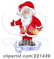 Royalty Free RF Clipart Illustration Of Santa Standing On Ice And Holding A Bell