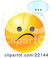 Yellow Emoticon Face With A Sad Frown And A Text Bubble With Dots