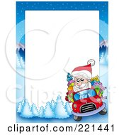 Royalty Free RF Clipart Illustration Of A Christmas Frame Border Of Santa Driving With A Winter Landscape Around White Space