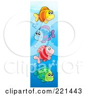 Royalty Free RF Clipart Illustration Of Four Colorful Fish Swimming With Bubbles 2