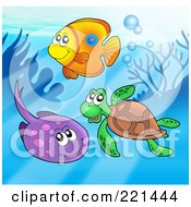 Royalty Free RF Clipart Illustration Of A Fish Sea Turtle And Ray By A Reef