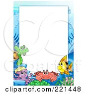 Royalty Free RF Clipart Illustration Of A Frame Of Sea Creatures Around White Space 3