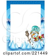 Royalty Free RF Clipart Illustration Of A Christmas Frame Border Of A Winter Landscape And Snowman Around White Space