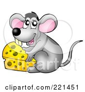 Royalty Free RF Clipart Illustration Of A Cute Gray Mouse Moving A Wedge Of Cheese