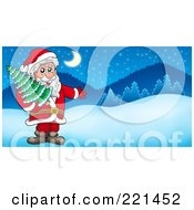 Royalty Free RF Clipart Illustration Of Santa Carrying A Tree And Presenting In A Winter Landscape