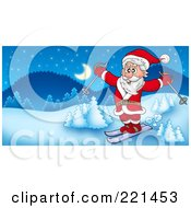 Royalty Free RF Clipart Illustration Of Santa Skiing In A Winter Landscape