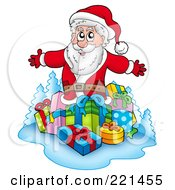 Royalty Free RF Clipart Illustration Of Santa Standing Over A Group Of Gifts