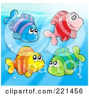 Royalty Free RF Clipart Illustration Of Four Colorful Fish Swimming With Bubbles 1