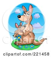 Royalty Free RF Clipart Illustration Of A Mother And Baby Kangaroo With Blue Daisies by visekart