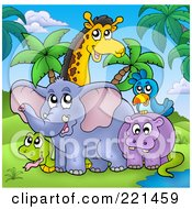 Royalty Free RF Clipart Illustration Of A Snake Elephant Hippo Bird And Giraffe