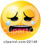 Yellow Emoticon Face Crying Tears Of Sadness And Depression