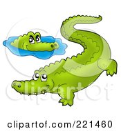 Royalty Free RF Clipart Illustration Of Two Crocodiles And Water