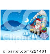 Royalty Free RF Clipart Illustration Of Santa Driving A Train In A Winter Landscape