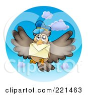 Royalty Free RF Clipart Illustration Of A Flying Owl With Mail In The Sky