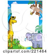 Royalty Free RF Clipart Illustration Of A Border Of A Giraffe Snake Elephant And Monkey Around White Space