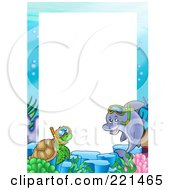 Royalty Free RF Clipart Illustration Of A Frame Of A Snorkeling Dolphin And Sea Turtle Around White Space by visekart
