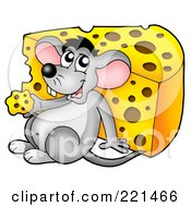 Royalty Free RF Clipart Illustration Of A Cute Gray Mouse Eating A Wedge Of Cheese