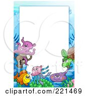 Royalty Free RF Clipart Illustration Of A Frame Of Sea Creatures Around White Space 2 by visekart