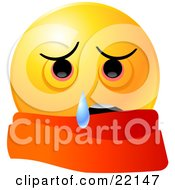 Yellow Emoticon Face Wearing A Scarf And Crying