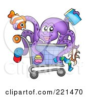 Royalty Free RF Clipart Illustration Of A Purple Octopus Holding Items And Sitting In A Shopping Cart by visekart
