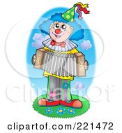 Royalty Free RF Clipart Illustration Of A Clown Playing An Accordion