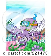 Royalty Free RF Clipart Illustration Of A Purple Octopus Snorkeling At A Reef by visekart