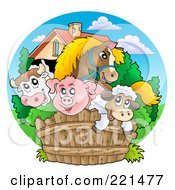 Royalty Free RF Clipart Illustration Of Happy Barnyard Animals Looking Over A Fence by visekart