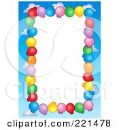 Royalty Free RF Clipart Illustration Of A Border Of Party Balloons And Blue Sky Around White Space