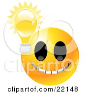 Clipart Illustration Of A Yellow Emoticon Face Grinning With A Lightbulb Symbolizing Ideas And Knowledge by Tonis Pan