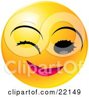 Clipart Illustration Of A Yellow Emoticon Face With Pink Lips Winking And Smiling