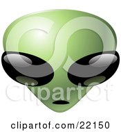 Clipart Illustration Of A Green Alien Emoticon Head With Big Black Eyes Staring