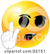 Yellow Emoticon Face With Big Black Eyes And An Open Mouth Holding Up His Hand And Arguing Or With An Idea